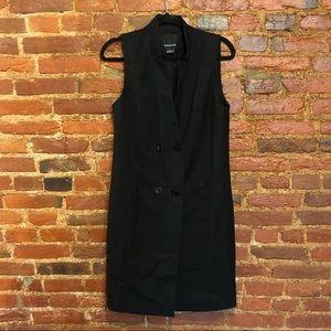 Double breasted midi black vest
